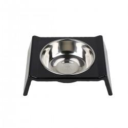 Comedero/Bebedero de melamina con bowls de acero inoxidable - Medium - Negro