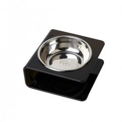 Comedero acrilico con bowl de acero - Small - Negro