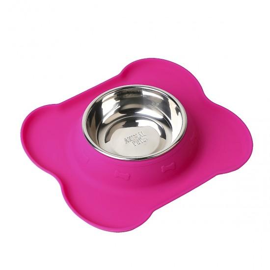 Comedero/Bebedero de silicona en forma de hueso con bowl de acero inoxidable