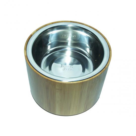 Comedero/Bebedero circular de Bamboo con bowls de acero inoxidable