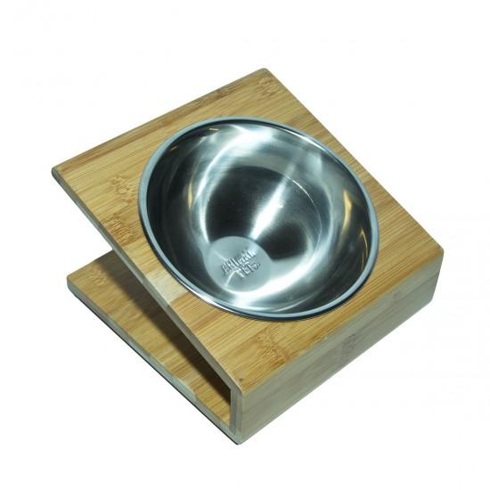 Comedero/Bebedero de Bamboo con bowls de acero inoxidable -