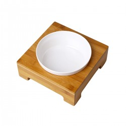 Comedero/Bebedero de Bamboo con bowl de melamina - Medium