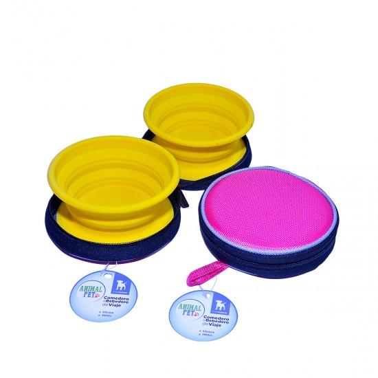 Comedero/Bebedero de viaje plegable de silicona - Small