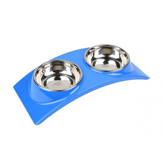 Comedero/Bebedero doble de melamina con bowl de acero inoxidable - Azul