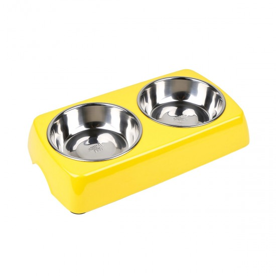 Comedero/Bebedero doble cuadrado de melamina con bowl de acero inoxidable -  Amarillo