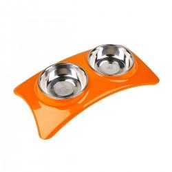 Comedero/Bebedero doble de melamina con bowls de acero inoxidable - Medium - Naranja