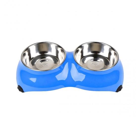Comedero/Bebedero doble de melamina con bowls de acero inoxidable - Azul