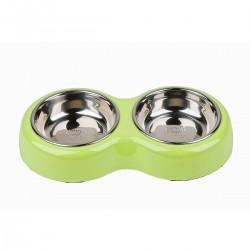 Comedero/Bebedero doble de melamina con bowls de acero inoxidable -  Verde