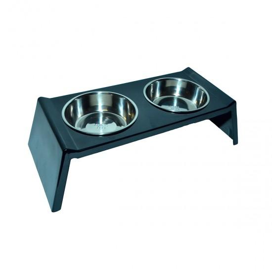 Comedero/Bebedero doble de melamina con bowls de acero inoxidable - Medium - Negro