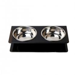 Comedero de acrilico con bowl de acero - Small - Negro