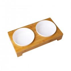 Comedero/Bebedero Doble de Bamboo con bowl de melamina - Medium