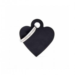 Chapita Identificatoria- Basic- Small Heart Aluminum Black