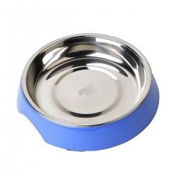 Comedero/Bebedero para gato de melamina con bowl de acero inoxiadable - Medium - Azul